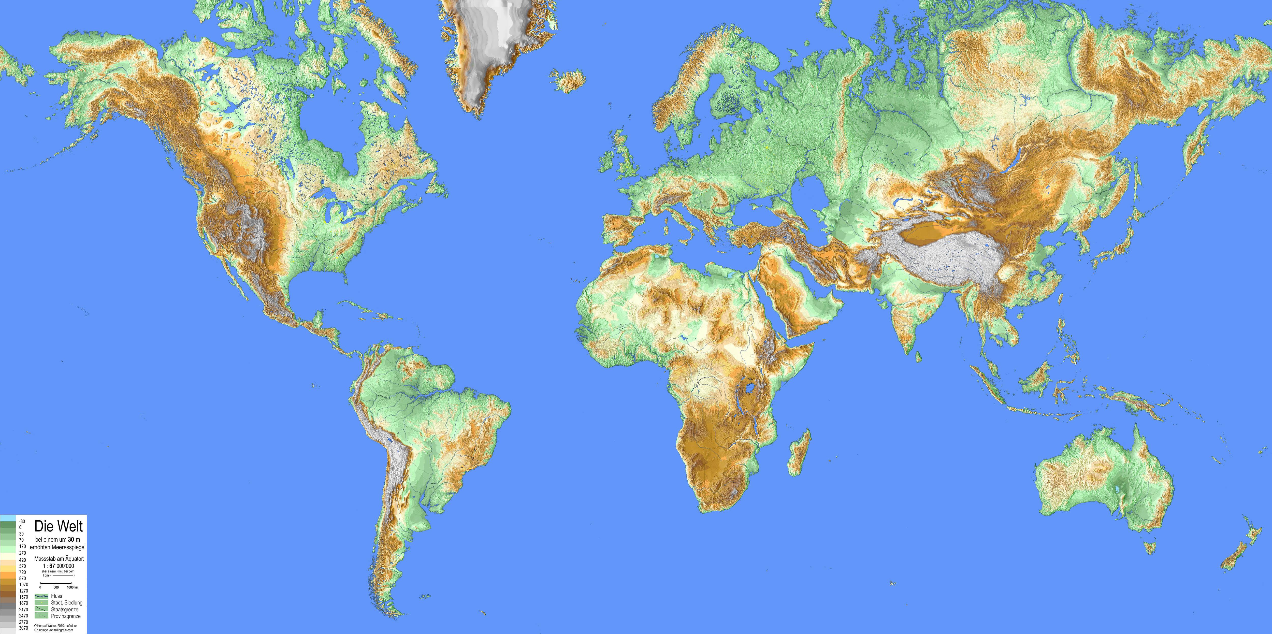 meeresspiegelanstieg karte Karten der Welt mit erhöhtem Meeresspiegel